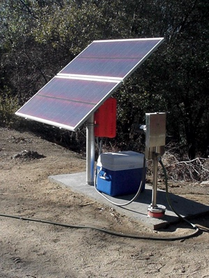 Simple Pump powered by solar at 'mountain retreat'.
